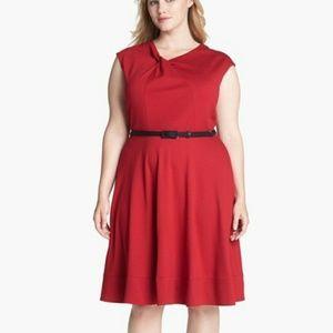 NWT Eliza J. Twist neck fit & flare red dress midi